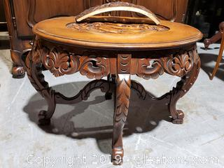 Victorian Hand-Carved Center-top Cocktail Table