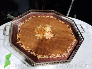 Beautiful Old Wooden Tray with Metal frame