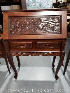 French Hand-Carved Secretary/Drop Leaf Desk