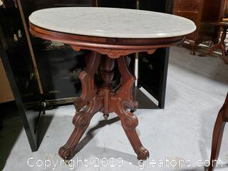 Victorian Parlor Table With Marble Top