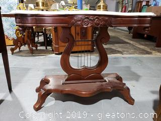 Victorian Lyre Marble Top Walnut Table Broken Marble Top