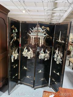 Asian Room Divider with Hand-Carved Trim