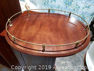 Oval Brass/Wood Table Vanity Tray by The Bombay Company