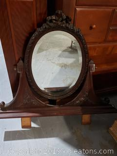 Handcarved Swing Mirror for Vanity