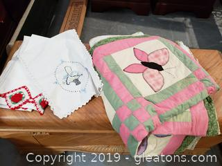 Handmade Quilt and Embroidered Pillow Cases