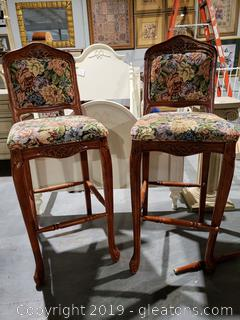 PR of Tapestry Covered Wooden Bar Stools