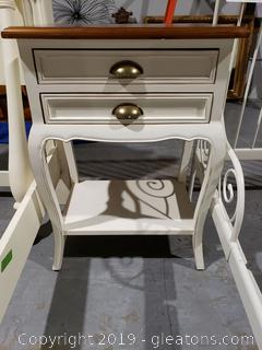 Footed (2) Drawer Side Table