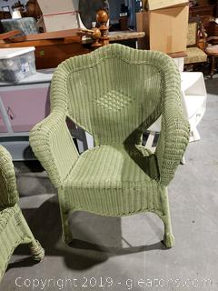 Sage Green Wicker Arm Chair (B)
