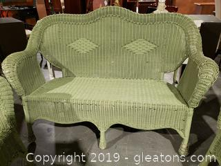 Sage Green Wicker Sofa