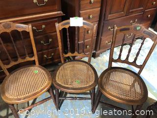 3 Cane Bottom Chairs