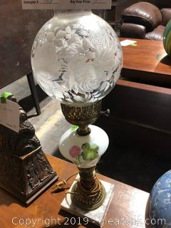 Victorian Brass and Marble Parlor Lamp