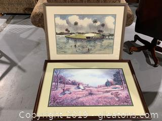 Pair of Sports Art-Hunting and Golfing