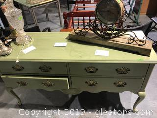 Olive Green, 4 Drawer Decorative Buffet