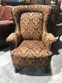 Vintage Wing Back Gold/Maroon Decorative Chair