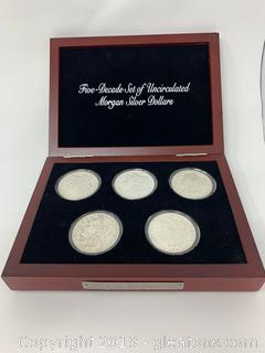 Five Decade Set Uncirculated Morgan Silver Dollar