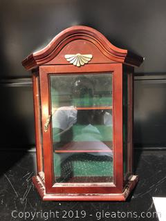 Small Mahogany Wall Curio Cabinet