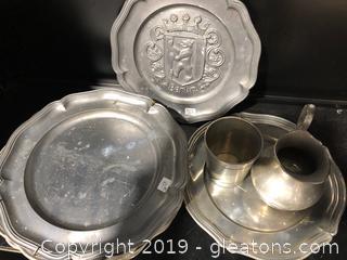 Pewter Plates & Creamer/Sugar