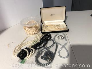 Faux Pearl Jewelry Lot