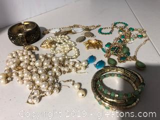 Green, Gold and Pearl Costume Jewelry