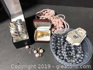 Faux Pearls & Silver Watch and Bracelet