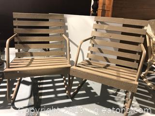 Mid Century Slatted Wood Outdoor Chairs