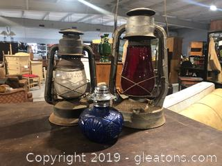 Set of Three Oil Burning Lamps