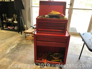 Red Tool Chest with Tools