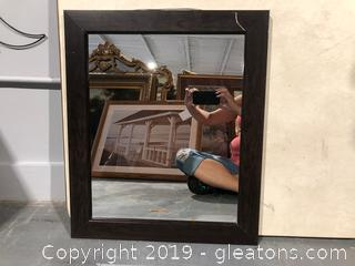 Small Wall Mirror with Faux Wooden Frame