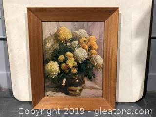 Wide Wood Framed Flower Pot Print