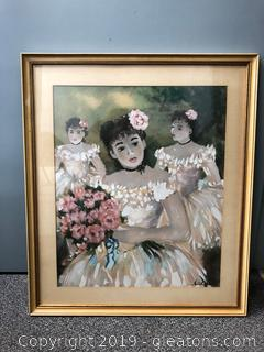 Large Frame Ladies with Bouquet Signed Wall Art