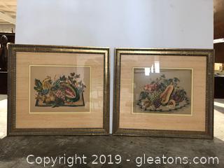 PR of Vtg. Framed Fruit Pictures