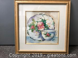 Framed Signed Floral Water Color