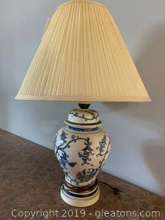 White Glass Lamp with Blue Designs