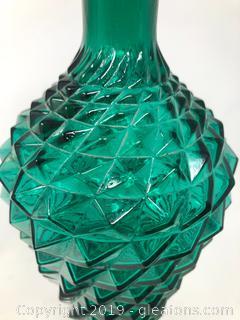Vintage Diamond Cut Glass Vase