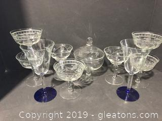 Lot of Vintage Princess Cut Wine Glasses and Candy Dish and Fluted Wine
