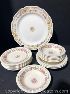 Edwin M Knowles China Set and a Rose Pattern Plate