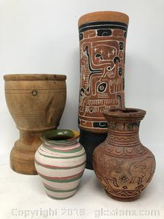 Artisans Hand Made and Painted a medicine Bowl and Urns