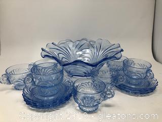 Vintage Cambridge Capri  Midnight Blue Punch Bowl Set