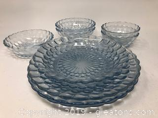 Rare Anchor Hocking Glass Co. Bubble Sapphire Blue Dish Set