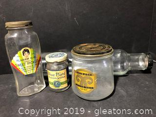Vintage Glass and Jars with Labels