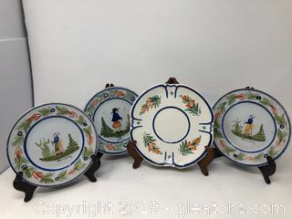Hand Painted French H B QUIMPER Plates