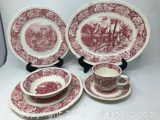 Antique Historical American Red and White China