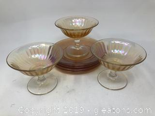 Beautiful Amber Depression Glass Mini Plates and Aerodescent Wine Goblets