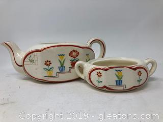 Vintage Numbered Tea Pot and Cup