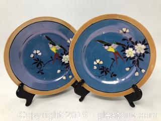 Two Vintage Hand Painted Plates