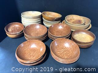 Large Lot of Vintage Wooden Bowls