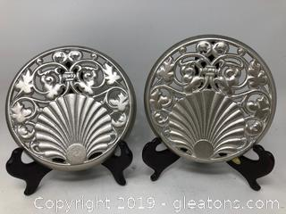 Pair of Round English Crested Gate or Door Deco