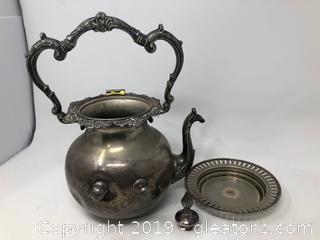 Antique Silver on Copper Handled Hot Burner Tea Urn