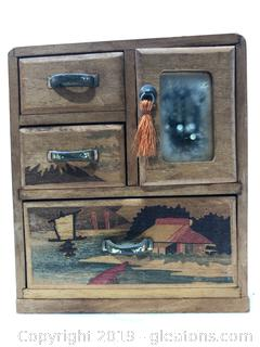 Hand Crafted and Painted Mini Chest of Drawers as Jewelry Box