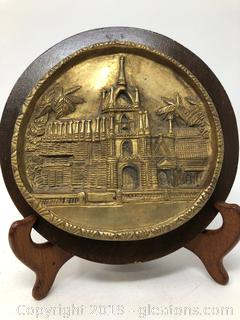 Heavy Solid Brass on Wood Wall Hanging Sculpture of Cathedral